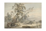 Italianate Landscape with Travellers No2  C1760 (W/C  Pen and Grey Ink over Graphite)