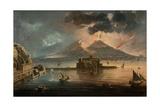 Naples at Night with Vesuvius Erupting