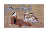 Nikuhitsu Ukiyo-E: Courtesan and Two Attendants  C 1735