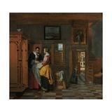 Interior with Women Beside a Linen Cupboard  1663