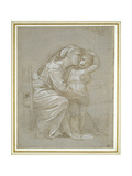 The Virgin and Child (Silverpoint  Heightened with White Bodycolour on a Slate Grey Preparation)