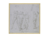 Group of Four Standing Soldiers (Silverpoint on a Blue-Grey Preparation on Off-White Paper)