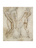 Three Nude Bearers (Pen and Brown Ink over Grey Chalk Outlines with Red Chalk on White Paper)