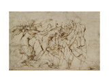 Battle Scene with Prisoners Being Pinioned (Pen and Brown Ink over Faint Indications in Black Chalk