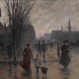 Rainy Evening on Hennepin Avenue  C1902