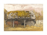 A Cow Lodge with a Mossy Roof  C1829 (Pen and Ink with W/C and Gouache on Paper)