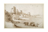 A Drover Urging a Team of Bullocks to Swim the Tiber at the Ponte Milvio Crossing (Pen and Brown In