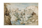 View of Tivoli with the Temple of the Tiburtine Sibyl and the Falls (Pen and Ink with Brown and Blu
