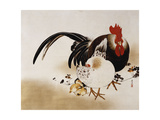 Cockerel  Hen and Chicks  1892 (Hanging Scroll  Colored Lacquer on Prepared Paper)