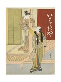 Courtesan Detaining a Young Man as a Mitate of Ibaraki and Watanabe No Tsuna  C 1767