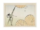 Bamboo  Umbrellas  a Cat and Butterflies  C 1877