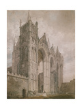 West Front of Peterborough Cathedral  1794 (Watercolour over Indications in Graphite)
