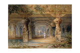 The Interior of the Great Cave  Elephanta  Bombay  19th Century (Pencil  W/C)