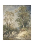 Wooded Landscape with Gypsy Encampment  C1760-65 (W/C and Gouache over Pencil and Chalk on Paper)