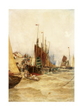 The First Boat in from Mackeral Fishing  Boulogue  1889 (Watercolour on Paper Laid on Canvas)