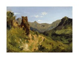 Valley in the Auvergne Mountains  1830 (Oil on Paper Mounted on Canvas)