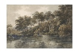 Trees and Ponds Near Bromley  Kent  C1798 (W/C over Pencil with Bodycolour on Paper)
