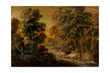 Wooded Landscape with Herdsman and Cattle  C1770 (Black and White Chalk  Varnished)