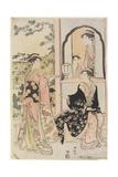 Four Women in Mitate as Ushiwaka Serenading Jo-Ruri-Hime  1785