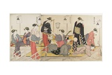Triptych of Cooling Off in the Evening at Shijo Riverbank  1784