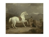 Mr Johnstone King's Grey Shooting Pony Waiting with a Groom on a Scottish Moor  1835