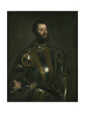 Portrait of Alfonso D'Avalos  Marchese Del Vasto  in Armor with a Page  1533