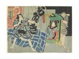 Ichikawa Kakitsu and Sawamura Noshi in the Kabuki Play Suibo Daigo Do_No Nozarashi  December 1865