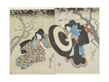 (Two Women Fighting under Cherry Tree  a Scene from a Kabuki Play)  1847-1852