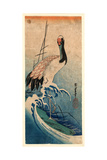 Nami Ni Tsuru  Crane in Waves [Between 1833 and 1835]  1 Print : Woodcut  Color ; 374 X 165