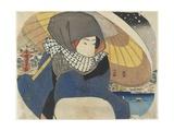 Woman Wearing Hood with Umbrella  1818