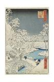 Drum Bridge and Sunset Hill at Meguro  April 1856