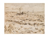Fishing Boats at Saintes-Maries-De-La-Mer  1888 (Pen and Ink and Pencil on Paper)