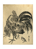 Niwatori  Hen and Chick [Between 1804 and 1818]  1 Print : Woodcut  Color ; 221 X 17