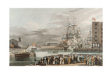 St Katherine's Dock: Opening on 25th October 1828  Engraved by E Duncan (Coloured Aquatint)
