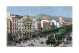 Spain Catalonia Barcelona Lithography La Rambla and the Gran Teatro Del Liceo (Opera House)
