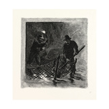 New Brunswick  Emptying Salmon Nets by Torchlight  Canada  Nineteenth Century