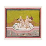 An Erotic Scene by the Edge of a River  C1900 (Gouache and Gold on Paper)