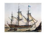 Le Volcan 80-Gun Ship of Line in 1745  Color Lithograph by Lebreton  19th Century
