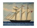 Three-Masted Barquentine Willie Glen  1880  Watercolour by Anthony Luzzo  19th Century