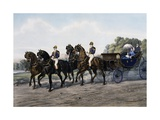Open Carriage Drawn by Four Horses  1863  by Guerard  France  19th Century