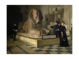 Egyptian Room of Louvre and Great Sphinx  by Guillaume Larue (1851-1935)