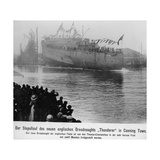 Launching of the New English Dreadnought 'Thunderer' in Canning Town  before 1911