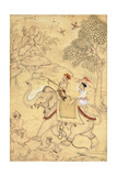 A Prince Hunting  Mounted on an Elephant  C1600-1650 (Drawing with W/C and Gold Paint)
