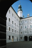Courtyard of a Palace  Grisaille Frescoes  Ambras Palace  Innsbruck  Tyrol  Austria
