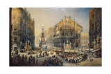 Feast of St Rosalia in Palermo  Watercolor by Pasquale Mattei (1813-1897)