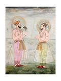 Portraits of Prince Dara Shikoh and Prince Sulaiman Shikoh Nimbate  C1665 (Gouache on Parchment)