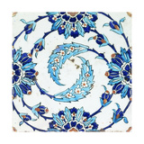 An Iznik Pottery Tile  with a Spiralling Floral Motif  Early 17th Century