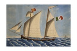 The Adolfo S  Italian Lugger  by Vincenzo Luzzo  19th Century  Watercolor  Italy