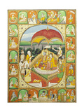 Rama and Sita Enthroned  Worshipped by Shiva  Hanuman and Others  1800-20 (Gouache)