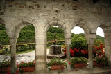 Porch and Well  Hermitage of St Albert  Butrio  Ponte Nizza  Oltrepo Pavese  Lombardy  Italy